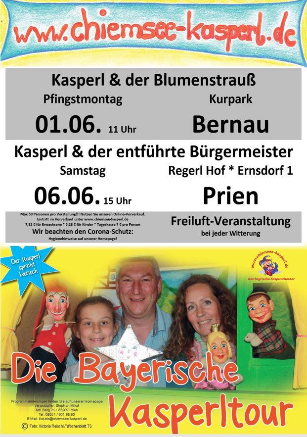 Kasperl-Freiluftaufführungen in Bernau und Prien